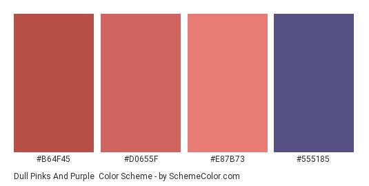 Dull Pinks and Purple - Color scheme palette thumbnail - #b64f45 #d0655f #e87b73 #555185
