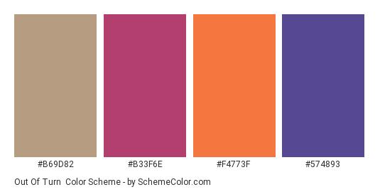 Out of Turn - Color scheme palette thumbnail - #b69d82 #b33f6e #f4773f #574893