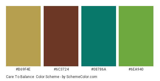 Care to Balance - Color scheme palette thumbnail - #b69f4e #6c3724 #08786a #6ea940
