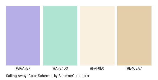 Sailing Away - Color scheme palette thumbnail - #b6afe7 #afe4d3 #faf0e0 #e4cea7