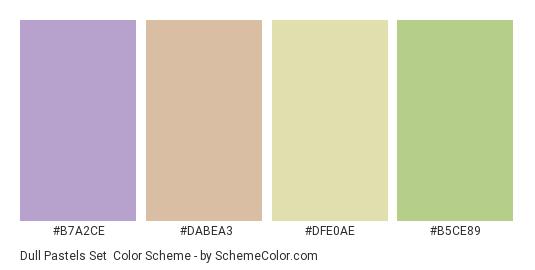 Dull Pastels Set - Color scheme palette thumbnail - #b7a2ce #dabea3 #dfe0ae #b5ce89