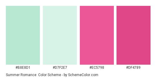 Summer Romance - Color scheme palette thumbnail - #b8e8d1 #d7f2e7 #ec5798 #df4789