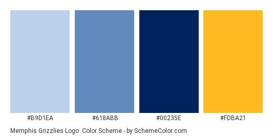 Memphis Grizzlies Logo - Color scheme palette thumbnail - #b9d1ea #618abb #00235e #fdba21