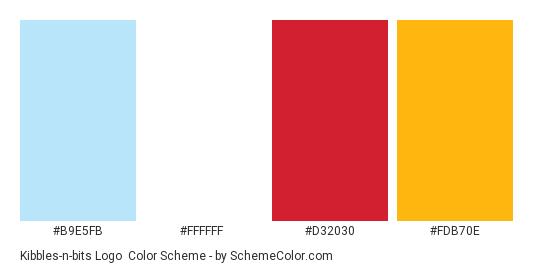Kibbles-n-bits Logo - Color scheme palette thumbnail - #b9e5fb #ffffff #d32030 #fdb70e