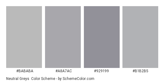 Neutral Greys - Color scheme palette thumbnail - #bababa #a8a7ac #929199 #b1b2b5
