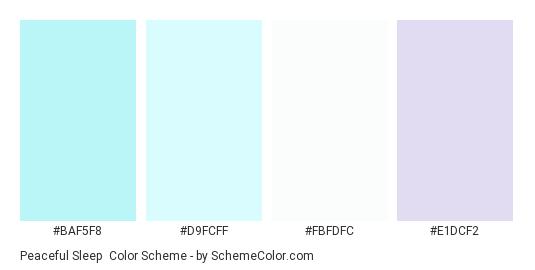 Peaceful Sleep - Color scheme palette thumbnail - #baf5f8 #d9fcff #fbfdfc #e1dcf2