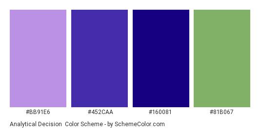 Analytical Decision - Color scheme palette thumbnail - #bb91e6 #452caa #160081 #81b067