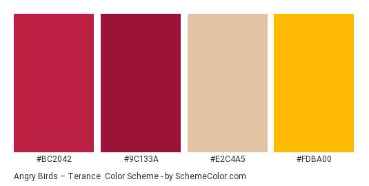 Angry Birds – Terance - Color scheme palette thumbnail - #bc2042 #9c133a #e2c4a5 #fdba00
