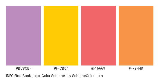 IDFC First Bank Logo - Color scheme palette thumbnail - #bc8cbf #ffcb04 #f16669 #f79448