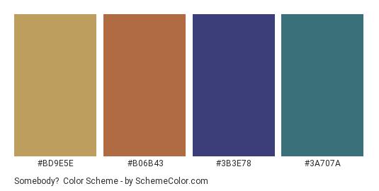 Somebody? - Color scheme palette thumbnail - #bd9e5e #b06b43 #3b3e78 #3a707a