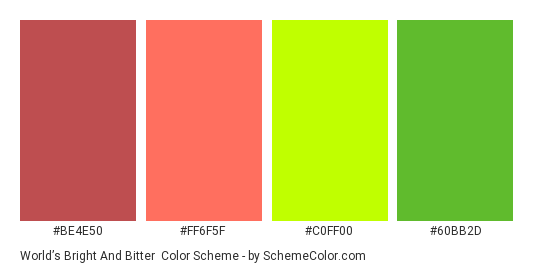 World's Bright and Bitter - Color scheme palette thumbnail - #be4e50 #ff6f5f #c0ff00 #60bb2d