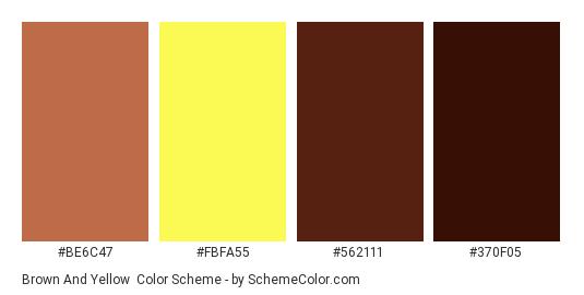 Brown and Yellow - Color scheme palette thumbnail - #be6c47 #fbfa55 #562111 #370f05