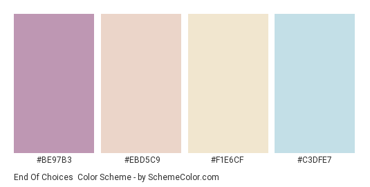 End of Choices - Color scheme palette thumbnail - #be97b3 #ebd5c9 #f1e6cf #c3dfe7