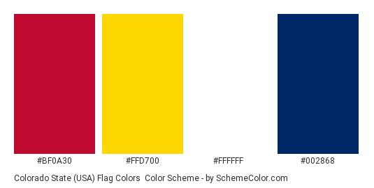 Colorado State (USA) Flag Colors - Color scheme palette thumbnail - #bf0a30 #ffd700 #ffffff #002868