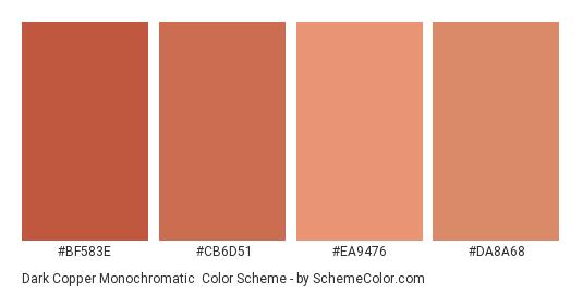 Dark Copper Monochromatic - Color scheme palette thumbnail - #bf583e #cb6d51 #ea9476 #da8a68