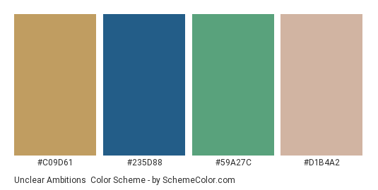 Unclear Ambitions - Color scheme palette thumbnail - #c09d61 #235d88 #59a27c #d1b4a2