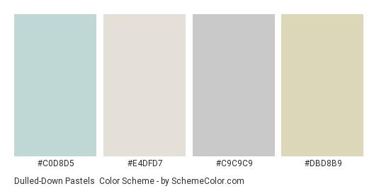 Dulled-Down Pastels - Color scheme palette thumbnail - #c0d8d5 #e4dfd7 #c9c9c9 #dbd8b9