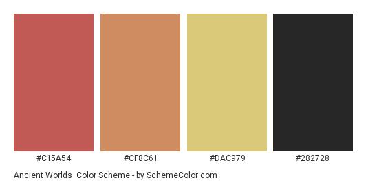 Ancient Worlds - Color scheme palette thumbnail - #c15a54 #cf8c61 #dac979 #282728