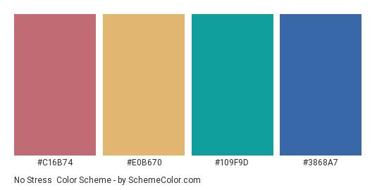 No Stress - Color scheme palette thumbnail - #c16b74 #e0b670 #109f9d #3868a7