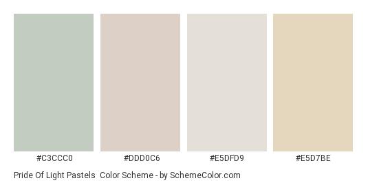 Pride of Light Pastels - Color scheme palette thumbnail - #c3ccc0 #ddd0c6 #e5dfd9 #e5d7be