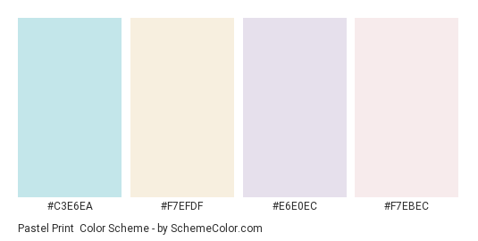 Pastel Print - Color scheme palette thumbnail - #c3e6ea #f7efdf #e6e0ec #f7ebec