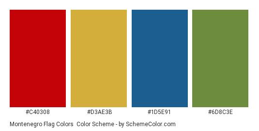 Montenegro Flag Colors - Color scheme palette thumbnail - #c40308 #d3ae3b #1d5e91 #6d8c3e