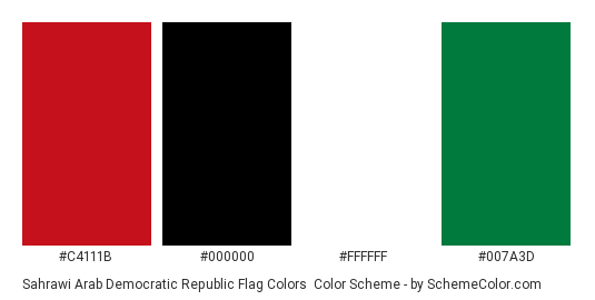 Sahrawi Arab Democratic Republic Flag Colors - Color scheme palette thumbnail - #c4111b #000000 #ffffff #007a3d