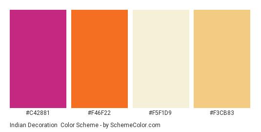 Indian Decoration - Color scheme palette thumbnail - #c42881 #f46f22 #f5f1d9 #f3cb83