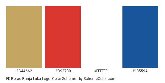 FK Borac Banja Luka Logo - Color scheme palette thumbnail - #c4a662 #d93730 #ffffff #18559a