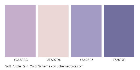 Soft Purple Rain Color Scheme Palette Thumbnail C4aecc Ead7d6 A49bc5