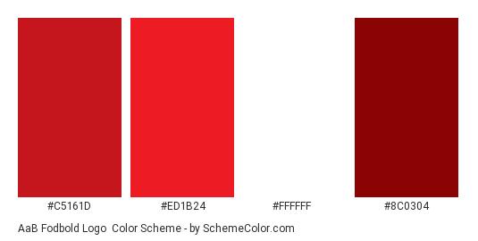 AaB Fodbold Logo - Color scheme palette thumbnail - #c5161d #ed1b24 #ffffff #8c0304
