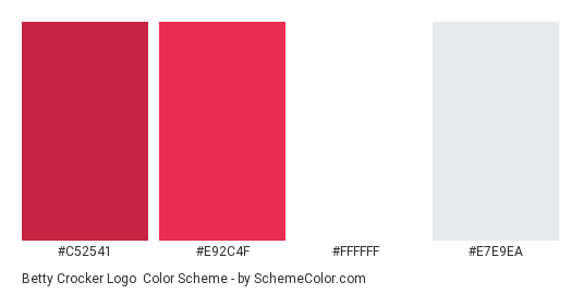 Betty Crocker Logo - Color scheme palette thumbnail - #c52541 #e92c4f #ffffff #e7e9ea
