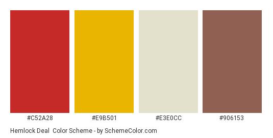 Hemlock Deal - Color scheme palette thumbnail - #c52a28 #e9b501 #e3e0cc #906153
