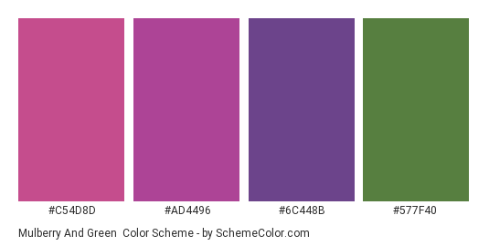 Mulberry and Green - Color scheme palette thumbnail - #c54d8d #ad4496 #6c448b #577f40