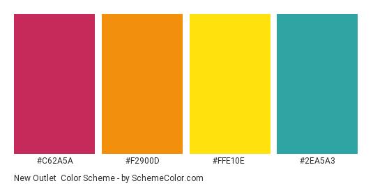 New Outlet - Color scheme palette thumbnail - #c62a5a #F2900D #FFE10E #2EA5A3