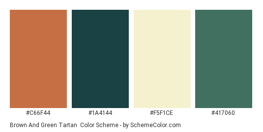 Brown And Green Tartan Color Scheme Palette Thumbnail C66f44 1a4144 F5f1ce