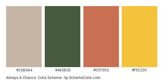 Always a Chance - Color scheme palette thumbnail - #c6b5a4 #465b3d #c97053 #f5c23c