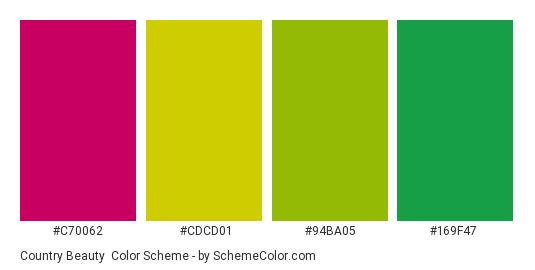 Country Beauty - Color scheme palette thumbnail - #c70062 #cdcd01 #94ba05 #169f47