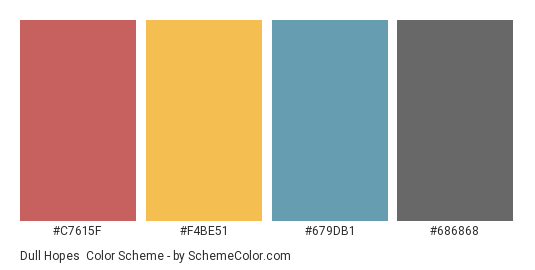 Dull Hopes - Color scheme palette thumbnail - #c7615f #f4be51 #679db1 #686868