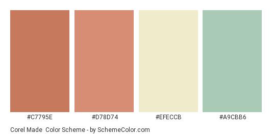 Corel Made - Color scheme palette thumbnail - #c7795e #d78d74 #efeccb #a9cbb6