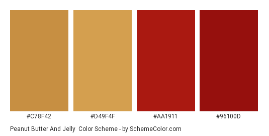 Peanut Butter and Jelly - Color scheme palette thumbnail - #c78f42 #d49f4f #aa1911 #96100d