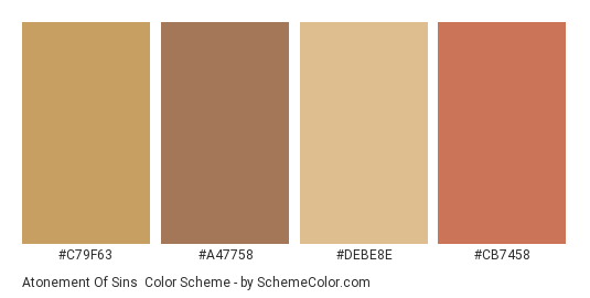 Atonement of Sins - Color scheme palette thumbnail - #c79f63 #a47758 #debe8e #cb7458