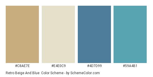 Retro Beige and Blue - Color scheme palette thumbnail - #c8ae7e #e4e0c9 #4d7d99 #59a4b1