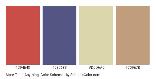 More than Anything - Color scheme palette thumbnail - #c94e48 #535683 #dcd6ac #c09e7b