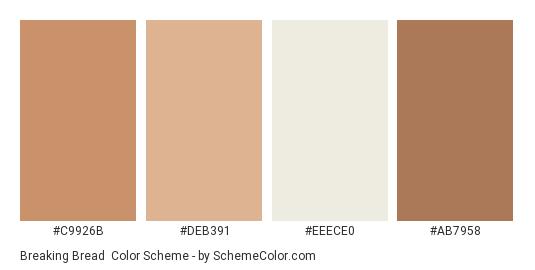Breaking Bread - Color scheme palette thumbnail - #c9926b #deb391 #eeece0 #ab7958