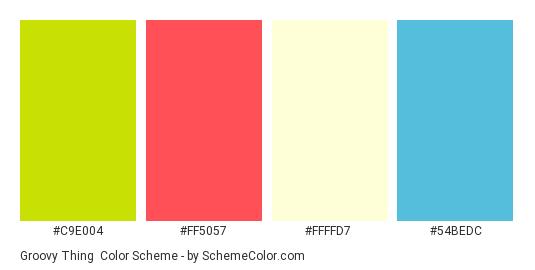 Groovy Thing - Color scheme palette thumbnail - #c9e004 #ff5057 #ffffd7 #54bedc