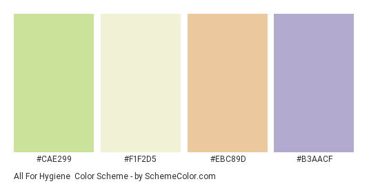 All for Hygiene - Color scheme palette thumbnail - #cae299 #f1f2d5 #ebc89d #b3aacf