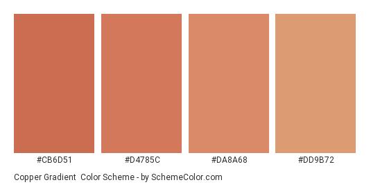 Copper Gradient - Color scheme palette thumbnail - #cb6d51 #d4785c #da8a68 #dd9b72