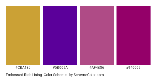 Embossed Rich Lining - Color scheme palette thumbnail - #cba135 #5b009a #af4b86 #940069