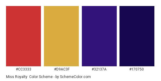 Miss Royalty - Color scheme palette thumbnail - #cc3333 #d9ac3f #32137a #170750
